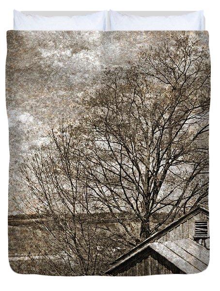 Rustic Hillside Barn Duvet Cover by John Stephens