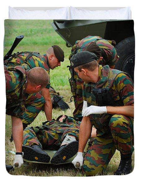 Soldiers Of A Belgian Infantry Unit Duvet Cover by Luc De Jaeger