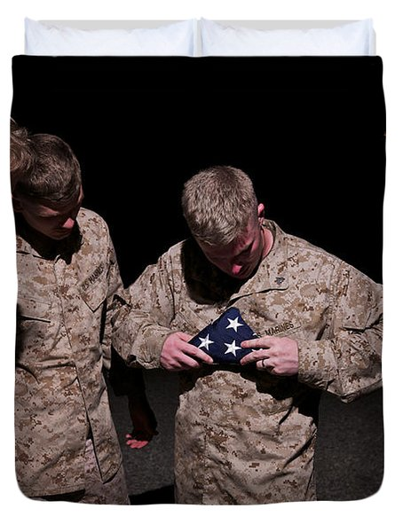 U.s. Marines Fold The American Flag Duvet Cover by Terry Moore