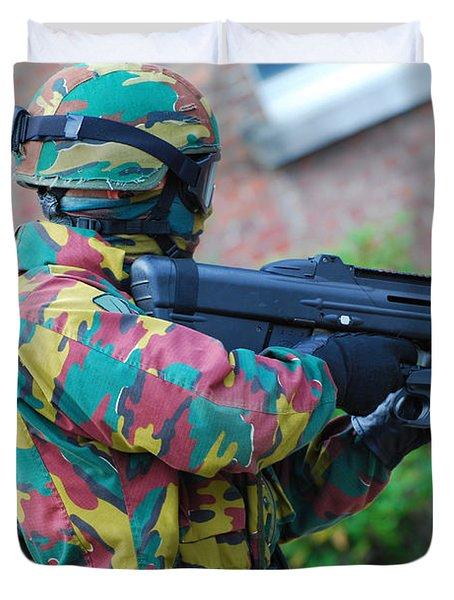 A Belgian Paratrooper  Handling The Fn Duvet Cover by Luc De Jaeger