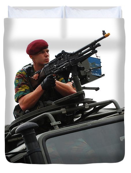 A Belgian Paratrooper Manning A Fn Mag Duvet Cover by Luc De Jaeger