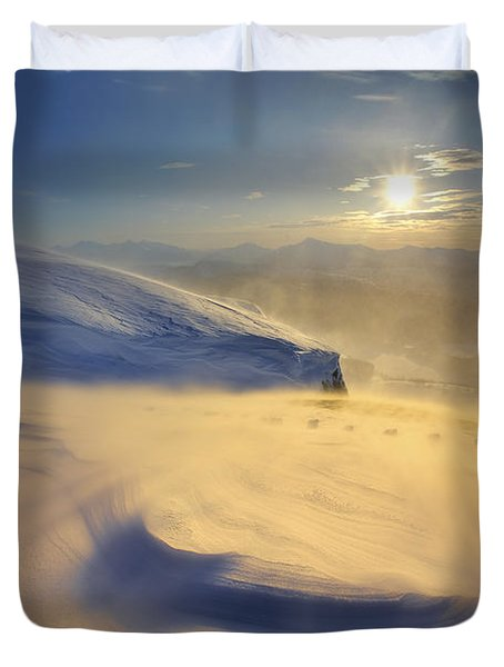 A Blizzard On Toviktinden Mountain Duvet Cover by Arild Heitmann