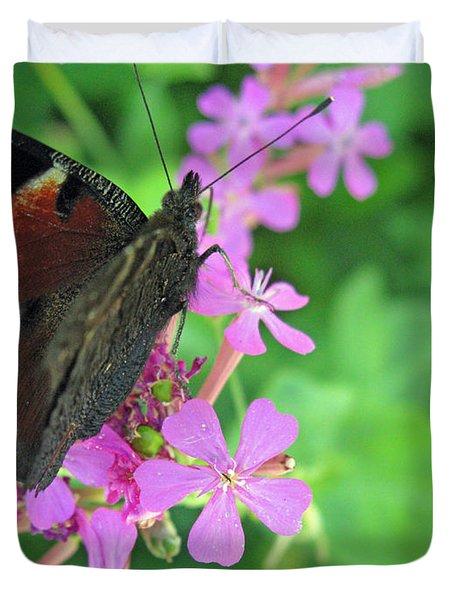A Butterfly On The Pink Flower 2 Duvet Cover by Ausra Huntington nee Paulauskaite
