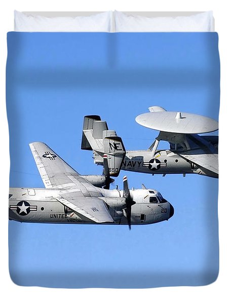 A C-2a Greyhound And A E-2c Hawkeye Duvet Cover by Stocktrek Images