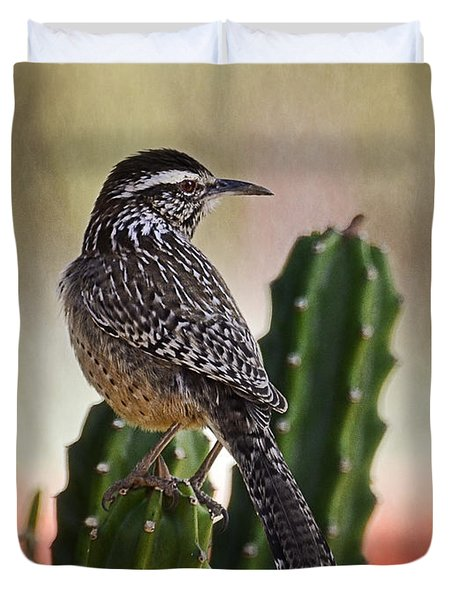 A Cactus Wren  Duvet Cover by Saija  Lehtonen