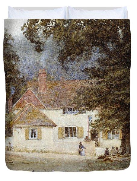 A Cart By A Village Inn Duvet Cover by Helen Allingham