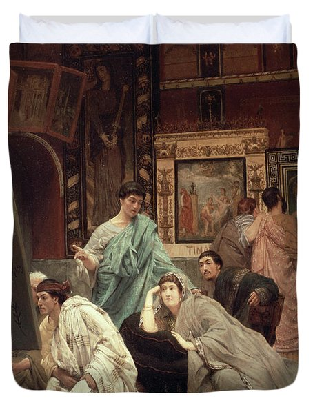 A Collector Of Pictures At The Time Of Augustus Duvet Cover by Sir Lawrence Alma-Tadema