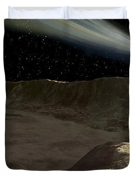 A Comet Passes Over The Surface Duvet Cover by Ron Miller