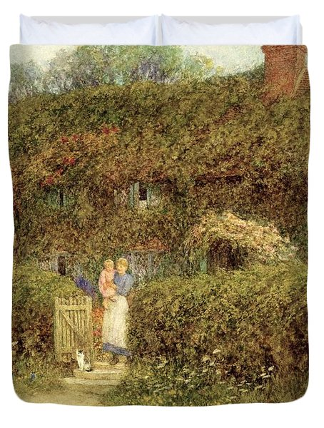 A Cottage At Freshwater Isle Of Wight Duvet Cover by Helen Allingham