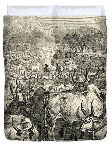 A Dinka Cattle Park, Southern Sudan Duvet Cover by Ken Welsh