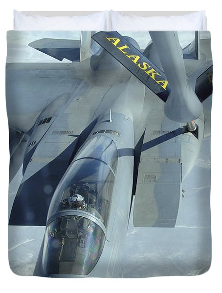 A F-15 Eagle Receives Fuel Duvet Cover by Stocktrek Images