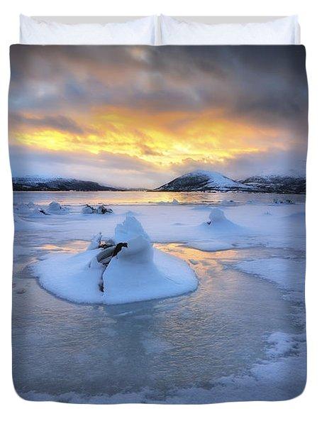 A Frozen Fjord That Is Part Duvet Cover by Arild Heitmann