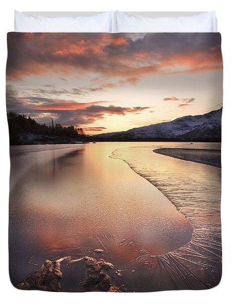 A Frozen Straumen Lake On Tjeldoya Duvet Cover by Arild Heitmann