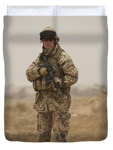 A German Army Soldier Armed With A M4 Duvet Cover by Terry Moore