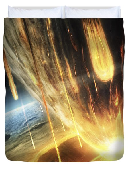 A Giant Asteroid Collides Duvet Cover by Tobias Roetsch
