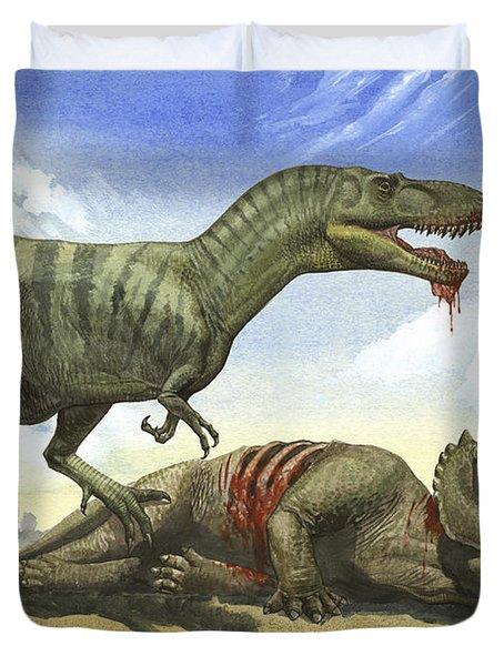 A Gorgosaurus Libratus Stands Duvet Cover by Sergey Krasovskiy