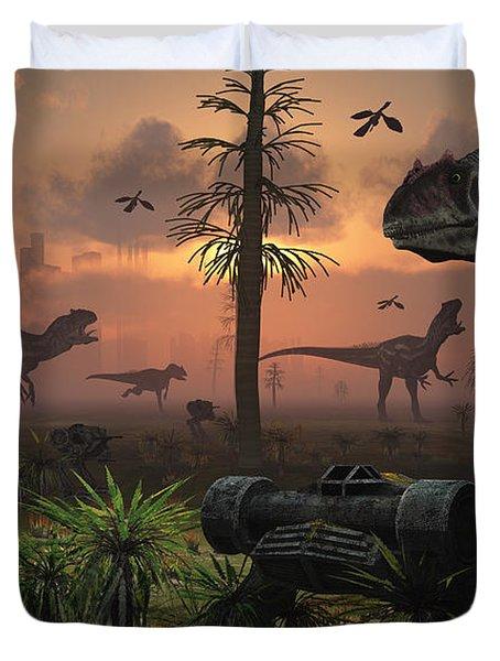 A Herd Of Allosaurus Dinosaur Cause Duvet Cover by Mark Stevenson