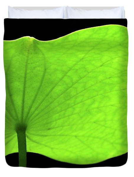 A Huge Green Lotus Leaf Duvet Cover by Sabrina L Ryan