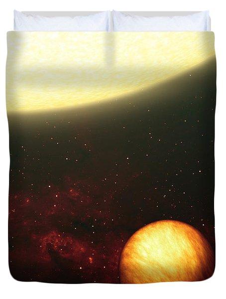 A Jupiter-like Planet Soaking Duvet Cover by Stocktrek Images