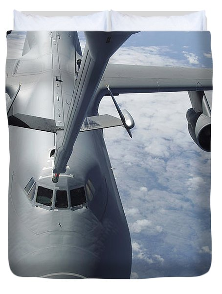 A Kc-10 Extender Prepares To Refuel Duvet Cover by Stocktrek Images