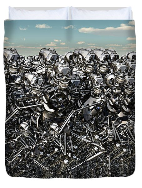 A Large Gathering Of Robots Duvet Cover by Mark Stevenson