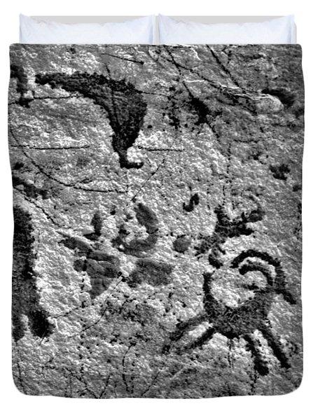 A Library Of Petroglyphs - Atlatl Rock Duvet Cover by Christine Till