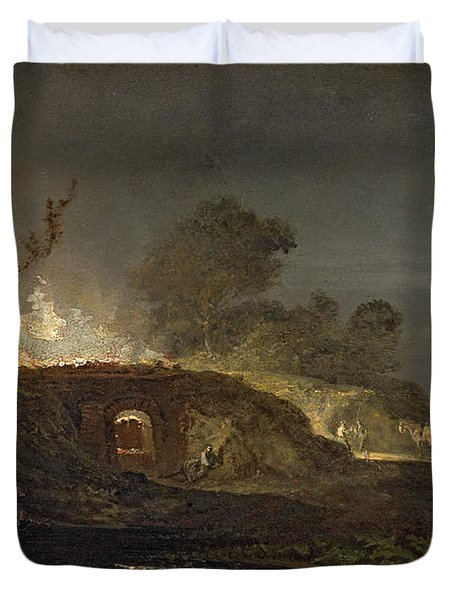 A Lime Kiln At Coalbrookdale Duvet Cover by Joseph Mallord William Turner