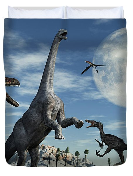 A Lone Camarasaurus Dinosaur Duvet Cover by Mark Stevenson