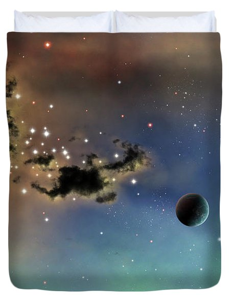 A Lonely Planet Is Lit By Two Stars Duvet Cover by Brian Christensen