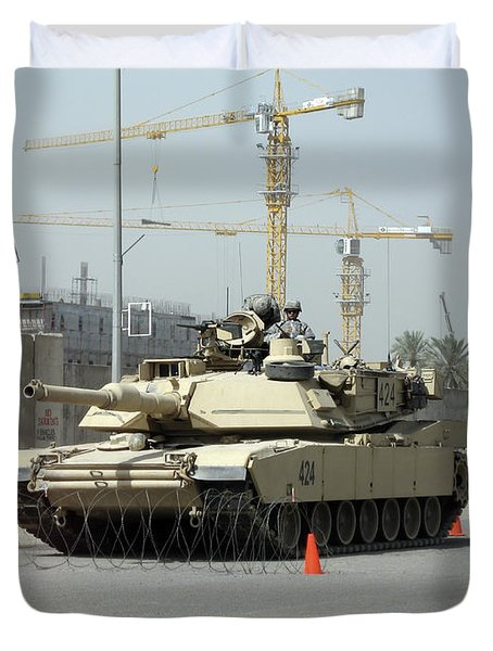 A M1 Abram Sits Out Front Of The New Duvet Cover by Terry Moore