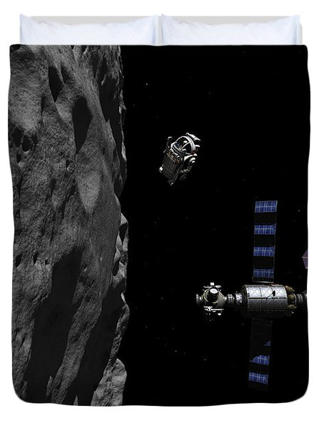 A Manned Maneuvering Vehicle Descends Duvet Cover by Walter Myers