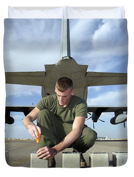 A Marine Replaces Flares In Flare Duvet Cover by Stocktrek Images