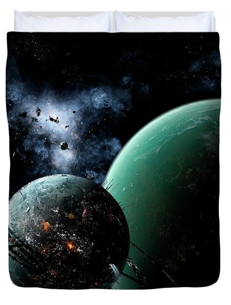 A Massive Space Station Orbits A Large Duvet Cover by Brian Christensen