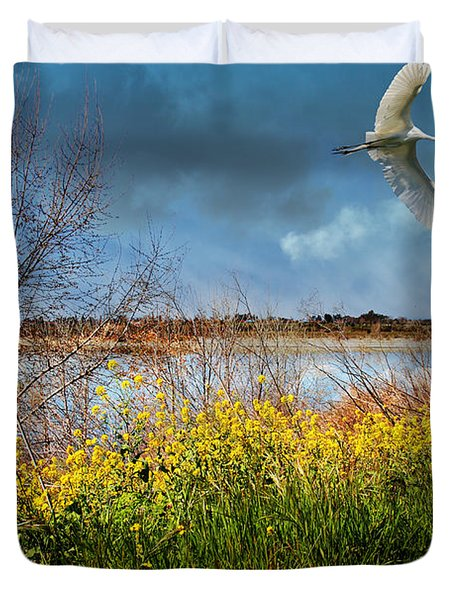 A Moment In Time In The Journey Of The Great White Egret . 7d12643 Duvet Cover by Wingsdomain Art and Photography