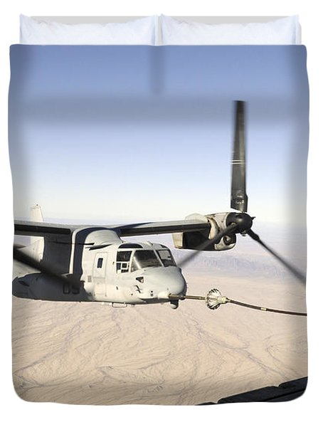 A Mv-22 Osprey Refuels Midflight While Duvet Cover by Stocktrek Images