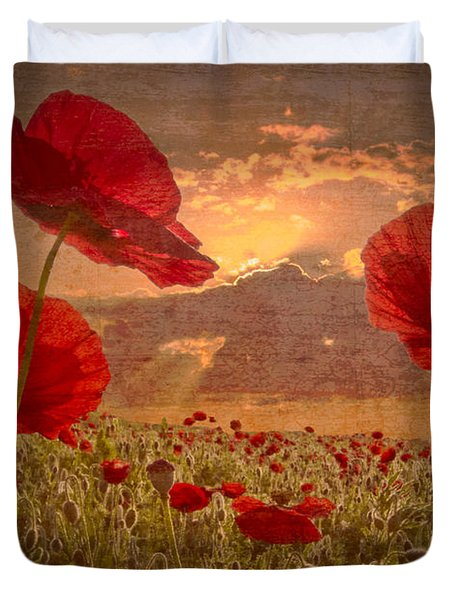 A Poppy Kind of Morning Duvet Cover by Debra and Dave Vanderlaan