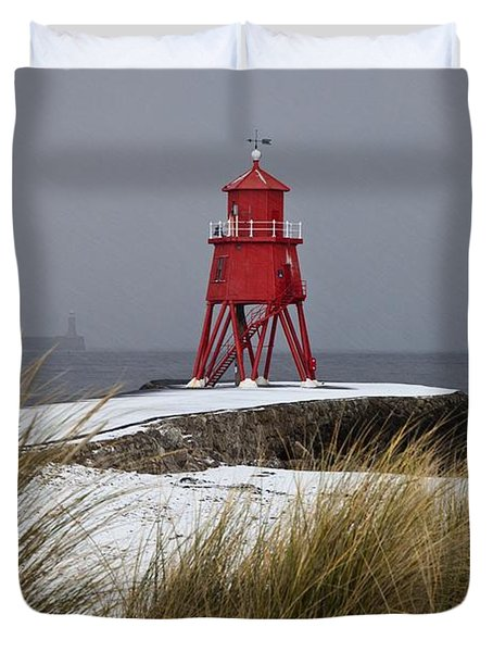 A Red Lighthouse Along The Coast South Duvet Cover by John Short
