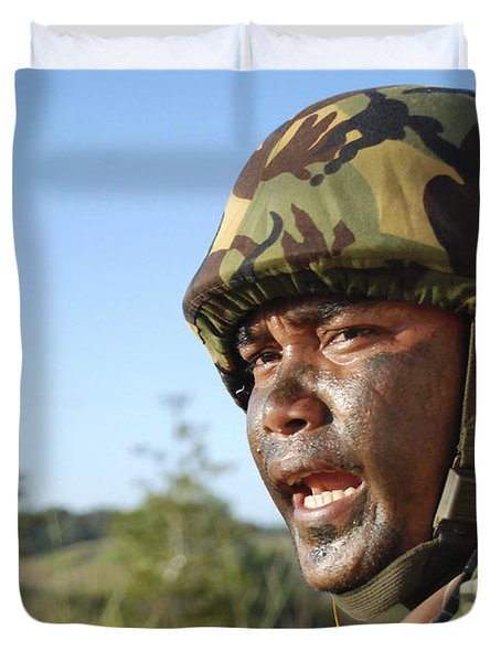 A Royal Brunei Land Force Soldier Duvet Cover by Stocktrek Images