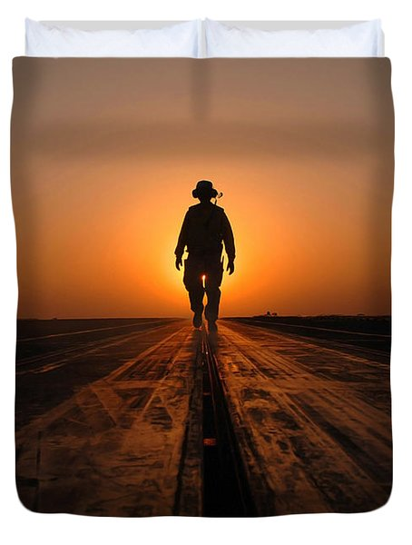 A Sailor Walks The Catapults Duvet Cover by Stocktrek Images