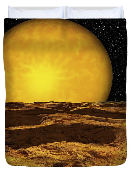 A Scene On A Moon Of Upsilon Andromeda Duvet Cover by Ron Miller