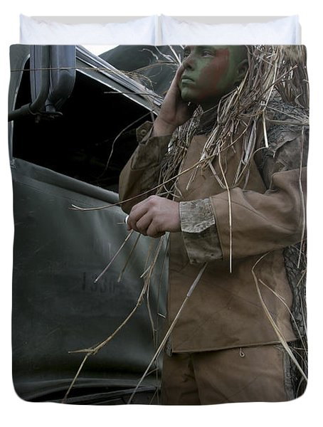 A Scout Observer Applies Camouflage Duvet Cover by Stocktrek Images