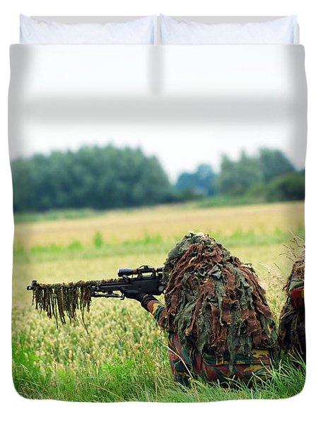 A Sniper Unit Of The Paracommandos Duvet Cover by Luc De Jaeger