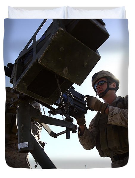 A Soldier Fires 40mm Rounds Duvet Cover by Stocktrek Images