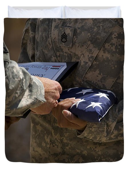 A Soldier Is Presented The American Duvet Cover by Stocktrek Images