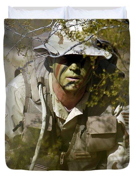 A Soldier Practices Evasion Maneuvers Duvet Cover by Stocktrek Images