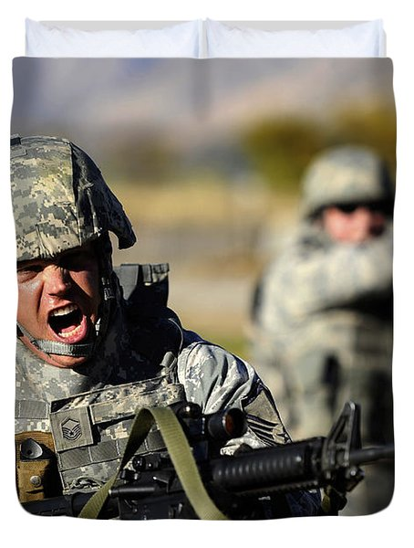 A Soldier Shows His Emotions Duvet Cover by Stocktrek Images