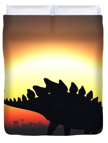 A Stegosaurus Silhouetted Duvet Cover by Mark Stevenson