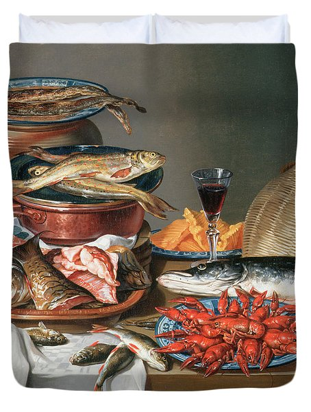 A Still Life Of A Fish Trout And Baby Lobsters Duvet Cover by Anton Friedrich Harms