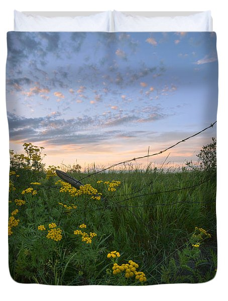 A Summer Evening Sky With Yellow Tansy Duvet Cover by Dan Jurak