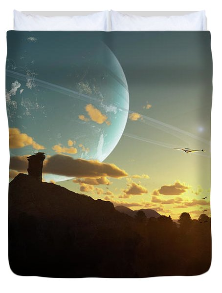 A Sunset On A Forested Moon Which Duvet Cover by Brian Christensen